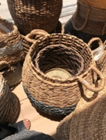 Natural Fiber Woven Basket - Large Size from Two Piece Set