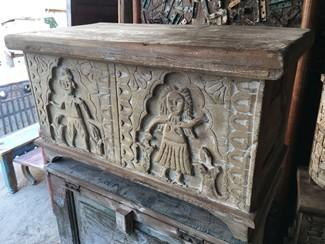 Wooden Trunk with Carving on Front