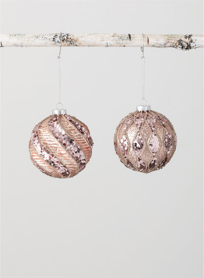 Glass Glittered Ball Ornament
