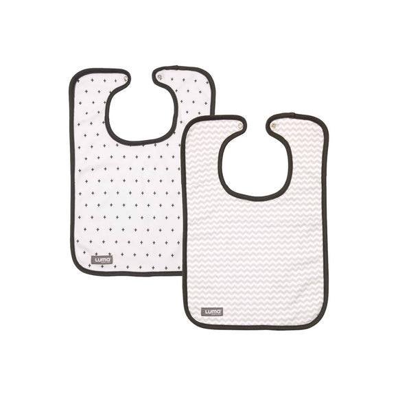 Set of 2 trendy bibs LUMA Mixed White