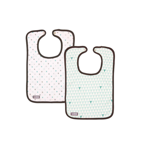 Set of 2 trendy bibs LUMA Misty mint