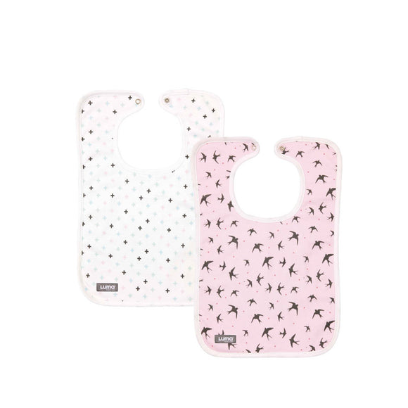 Set of 2 trendy bibs LUMA Pretty Pink