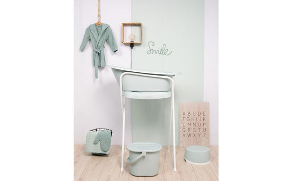 Bath with built-in thermometer BebeJou SET with Bath stand Sky green