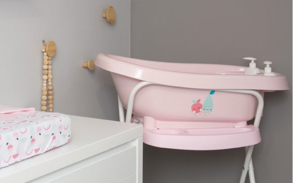 Bath with built-in thermometer BebeJou SET with Bath stand Blush Baby