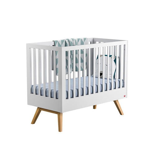 Cot Bed Nature Baby White/Oak 70 x 140 BebeJou