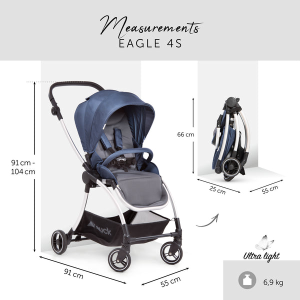 Stroller set 3 in 1 Hauck Eagle 4S Denim Grey with isofix base