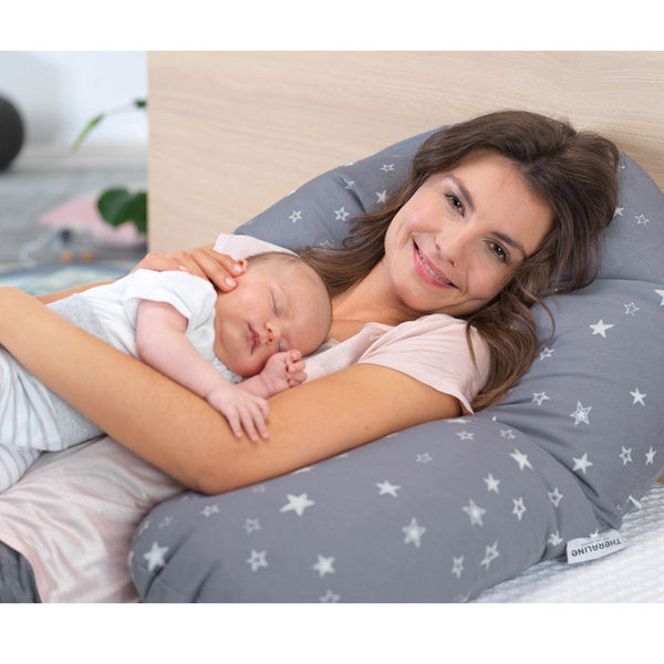 Pregnancy and Baby feeding Pillow Thermaline The Original ds.121 Hooks Black and White