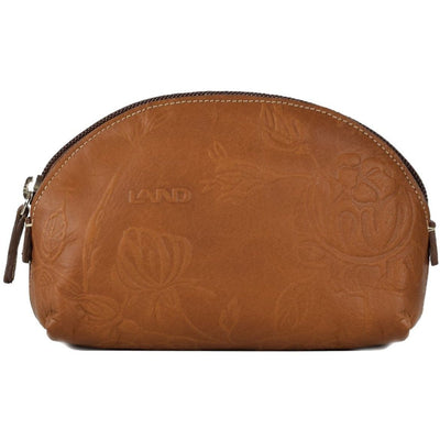 Magnolia Zippered Cosmetic Pouch, Cosmetic Pouch | LAND Leather