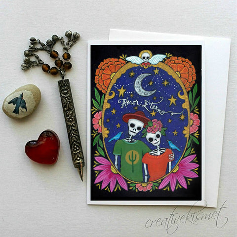 Day of the Dead - Amor Eterno - 5x7 Art Card with Envelope