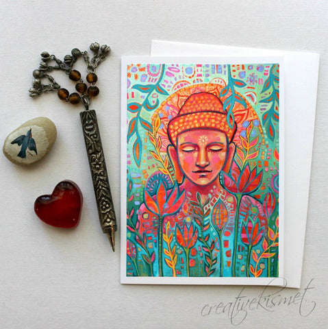 Buddha in Bloom- 5x7 Art Card with Envelope