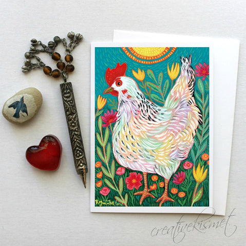 Happy Chicken - 5x7 Art Card with Envelope