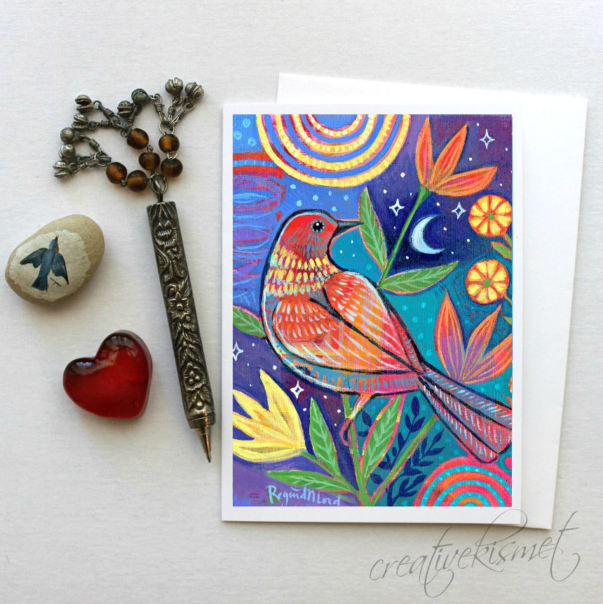 Magical Night Bird - 5x7 Art Card with Envelope