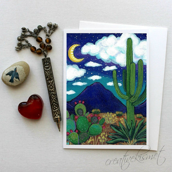 Desert Crescent Moon - 5x7 Art Card with Envelope
