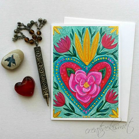 Burning Heart - 5x7 Art Card with Envelope