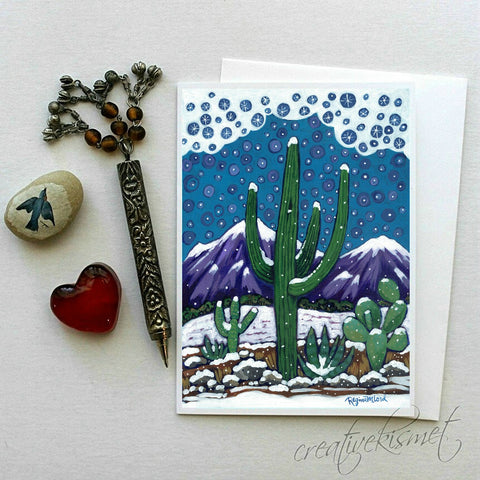 Snowy Saguaro - 5x7 Art Card with Envelope