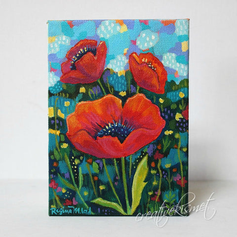 Poppies - 5 x 7 Original Artwork