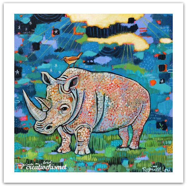 Mighty White Rhino - Art Print