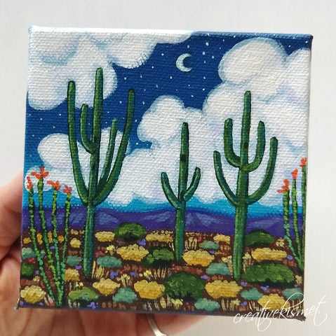 Saguaro Night Sky - 4 x 4 Original Artwork