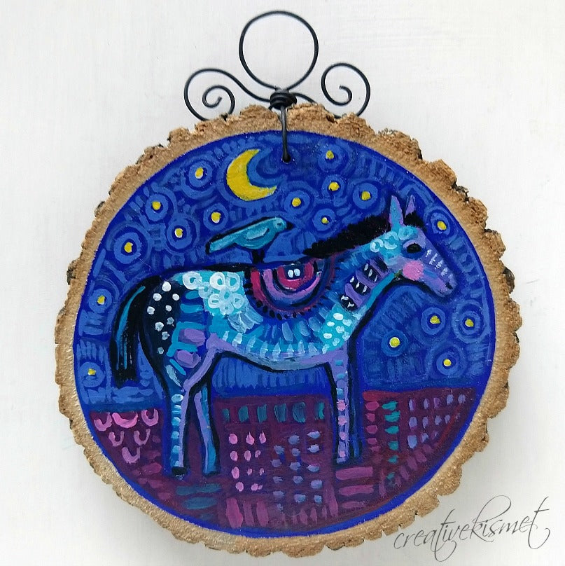 Everyday Wood Slice Ornament - Night Horse