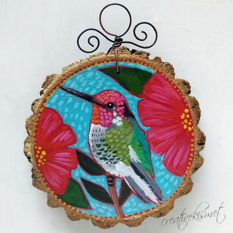 Everyday Wood Slice Ornament - Hummingbird