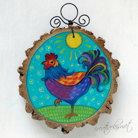 Everyday Wood Slice Ornament - Sunshine Rooster