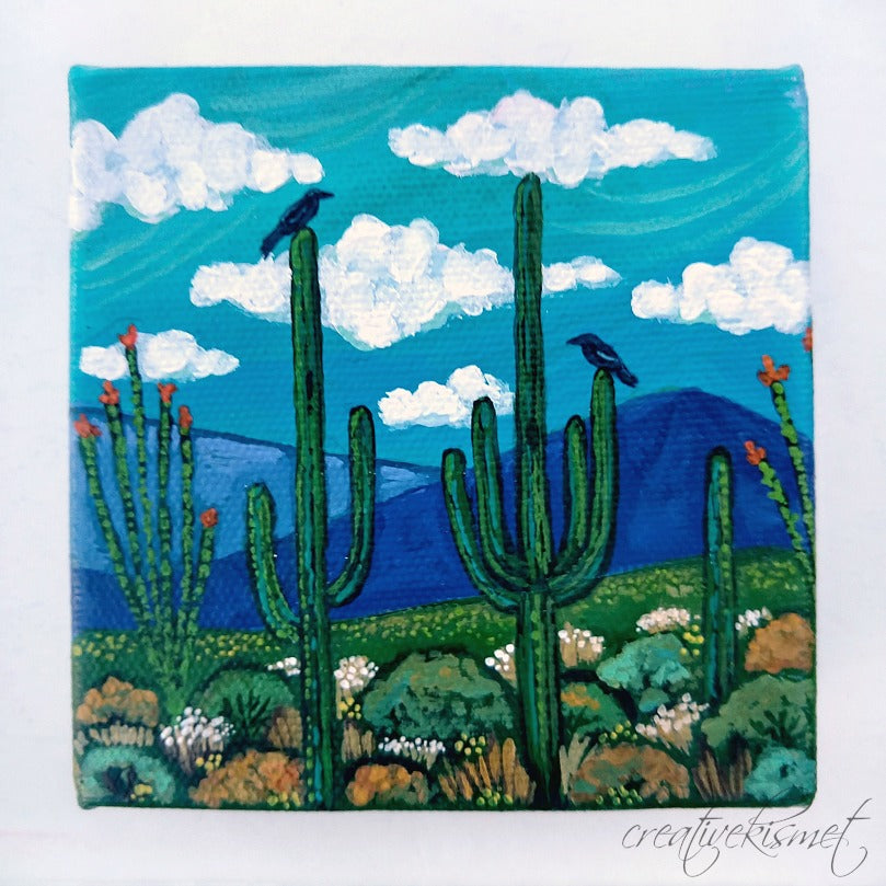 Sonoran Desert - 4 x 4 Original Artwork