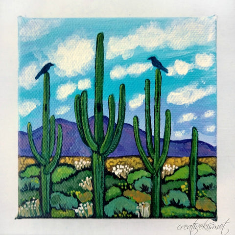 Warm Saguaro Day - 4 x 4 Original Artwork