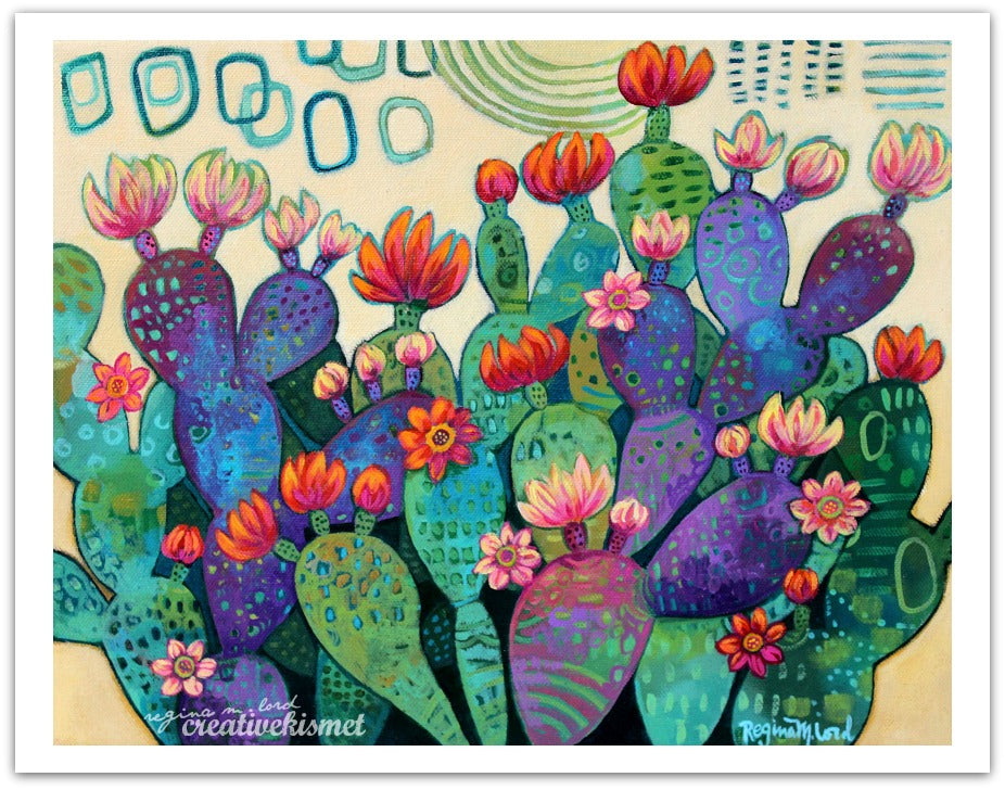 Blooming Prickly Pear Cactus - Art Print