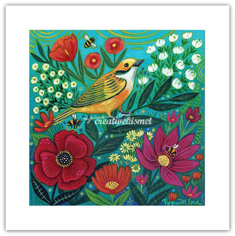 Bird, Bees and Blooms - Art Print