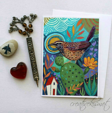 Back Yard Bird - Cactus Wren - 5x7 Art Card with Envelope
