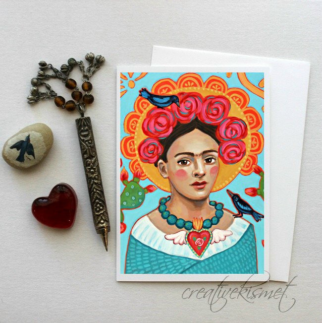 MexicanArtist with Blackbirds - 5x7 Art Card with Envelope