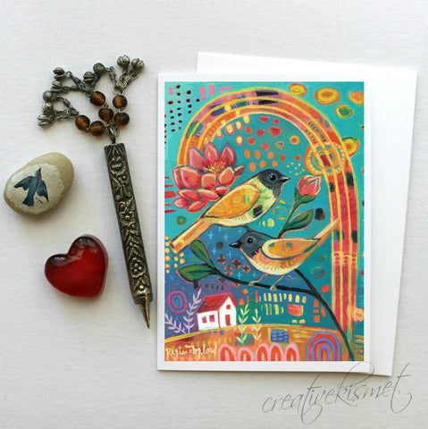 Love Birds - 5x7 Art Card with Envelope