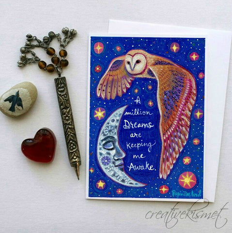 A Million Dreams - Night Owl - 5x7 Art Card with Envelope
