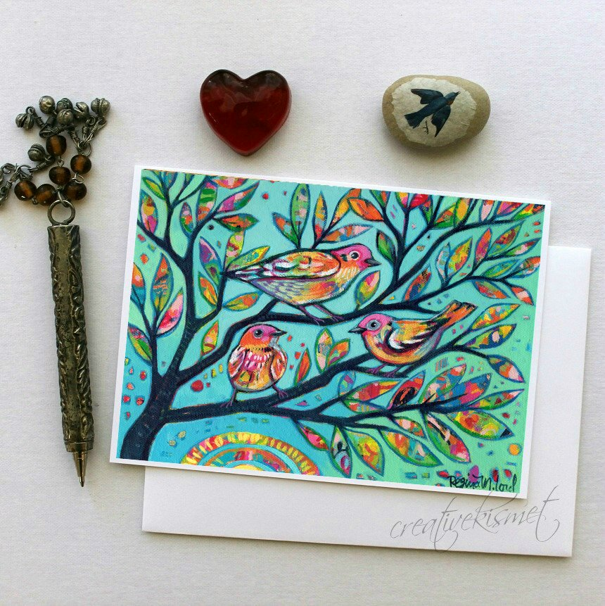 Birds in Branches - 5x7 Art Card with Envelope