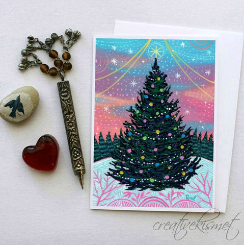 Oh Christmas Tree - 5x7 Art Card with Envelope