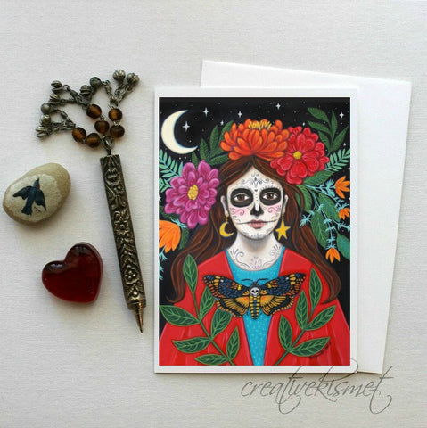 Day of the Dead - Under the Crescent Moon - 5x7 Art Card with Envelope