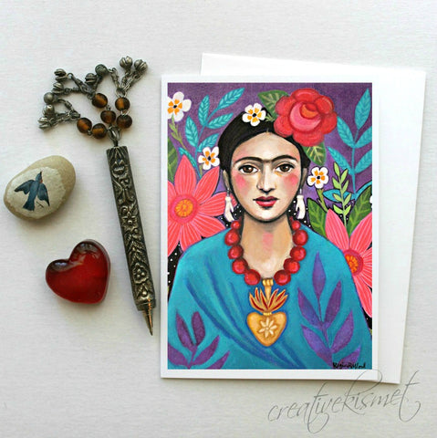 MexicanArtist with FLowers - 5x7 Art Card with Envelope
