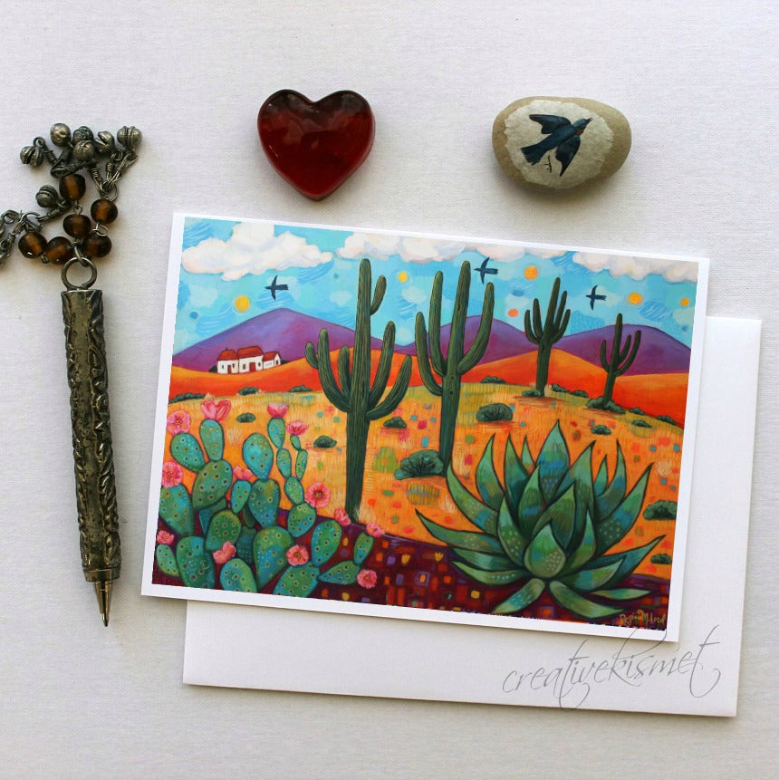 Home in the Desert - 5x7 Art Card with Envelope
