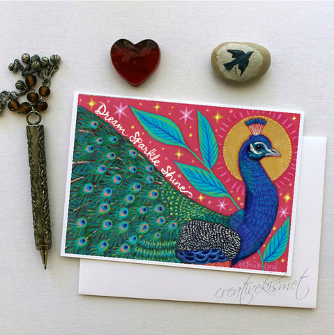 Dreamy Peacock - 5x7 Art Card with Envelope
