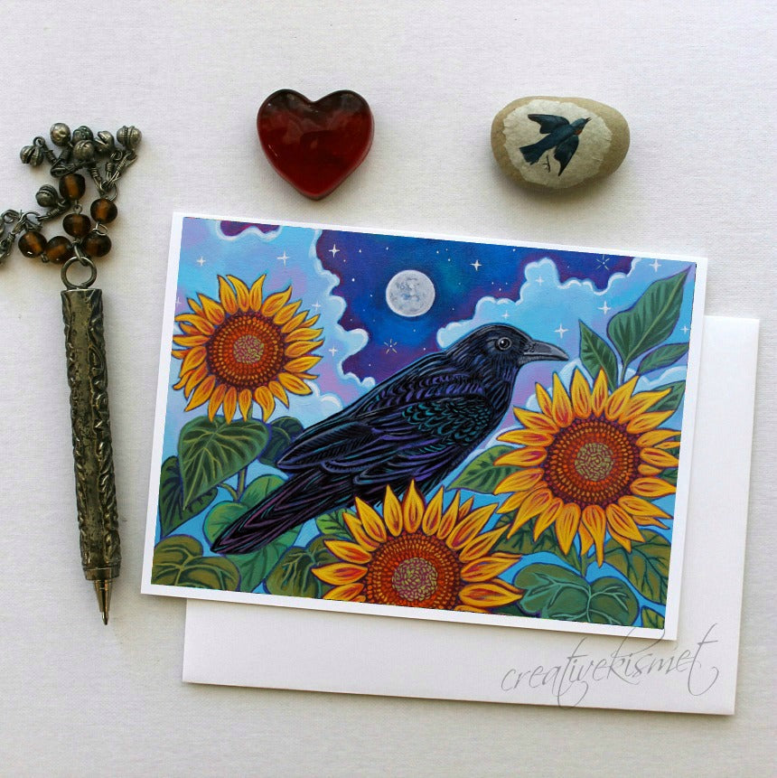 Raven Moon - 5x7 Art Card with Envelope