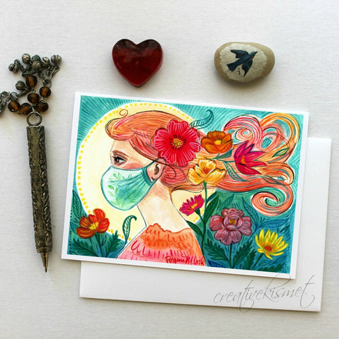 Safety Goddess - 5x7 Art Card with Envelope