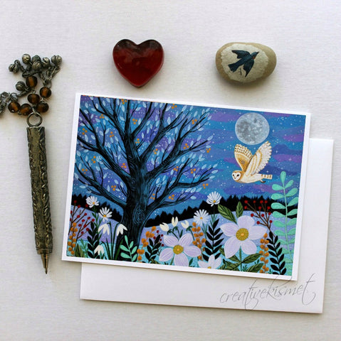 Winter Night Owl - 5x7 Art Card with Envelope