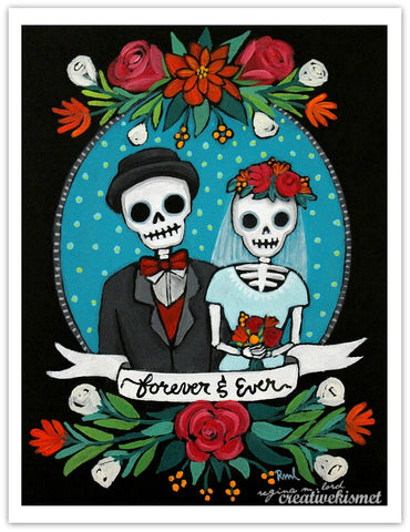 Forever and Ever - Day of the Dead Couple - Art Print