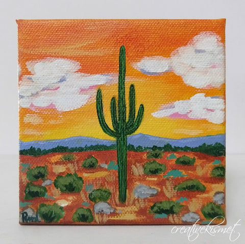 Warm Desert Breeze - 4 x 4 Original Artwork