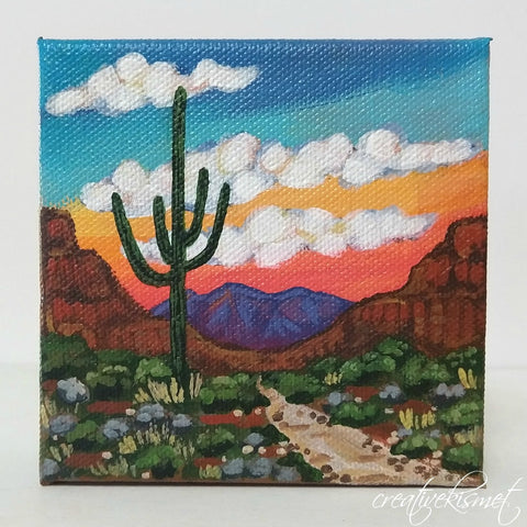 Saguaro Trail - 4 x 4 Original Artwork