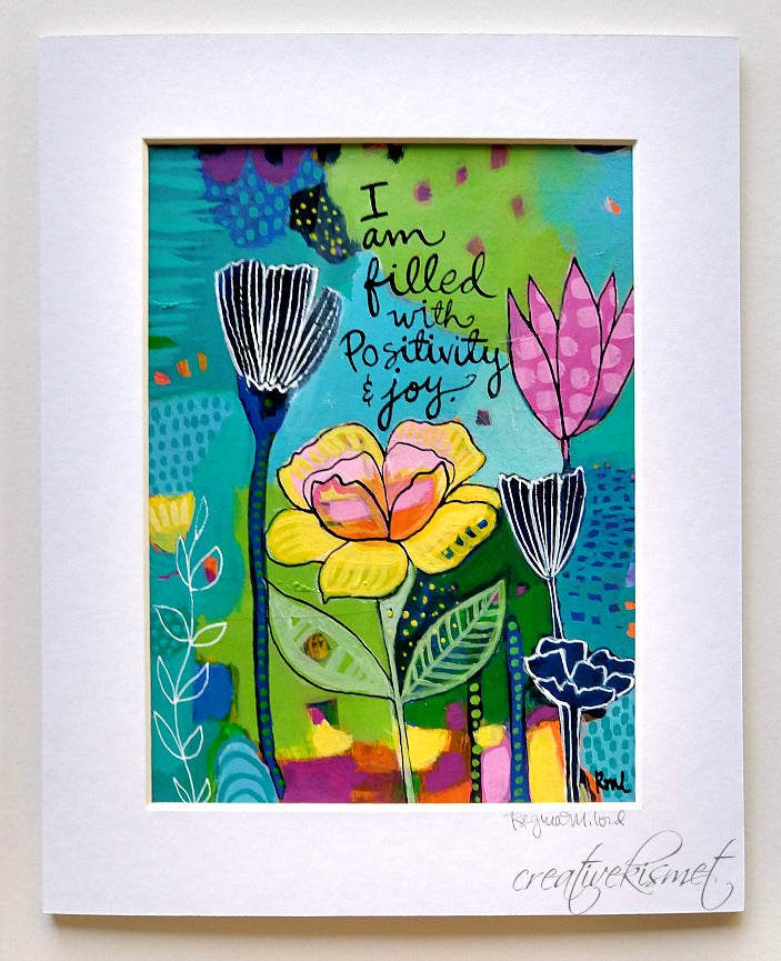 I am - Positivity & Joy - Matted Original Painting