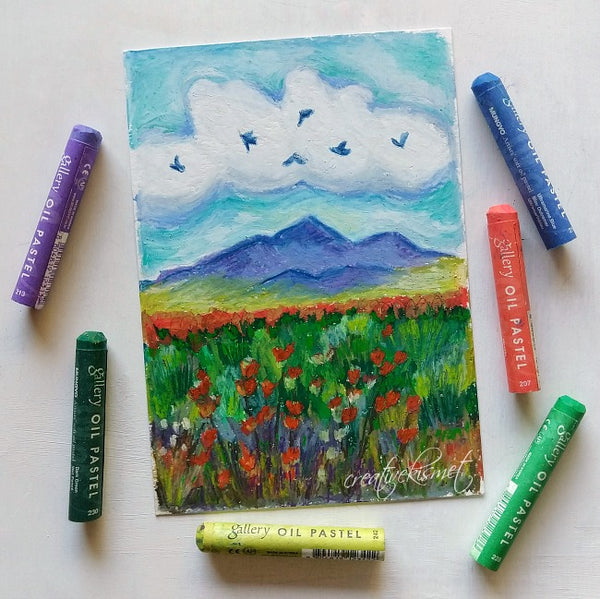 Oil Pastel Study - Mountain Song - Matted Original Painting