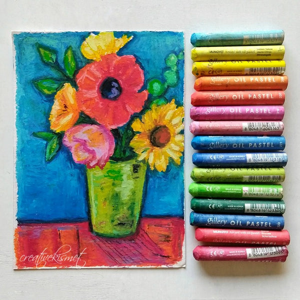 Oil Pastel Study - Lively Blooms - Matted Original Painting