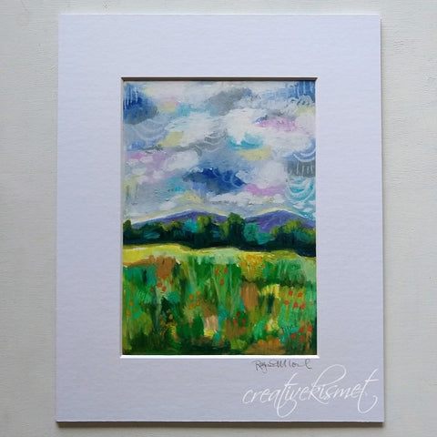 Oil Pastel Study - Scattered Clouds - Matted Original Painting