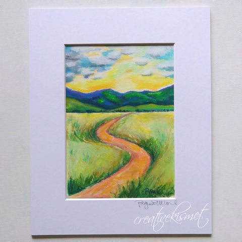 Oil Pastel Study - Onward - Matted Original Painting